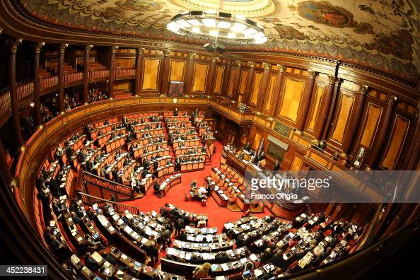 A general view of the Italian Senate Palazzo Madama during the discussion before the votes over Silvio Berlusconi's Parliament expulsion on November...