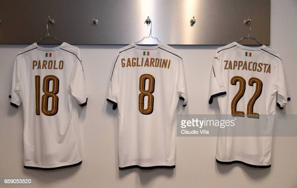 A general view of the Italy dressing room ahead of the international friendly match between Netherlands and Italy at Amsterdam Arena on March 28 2017...