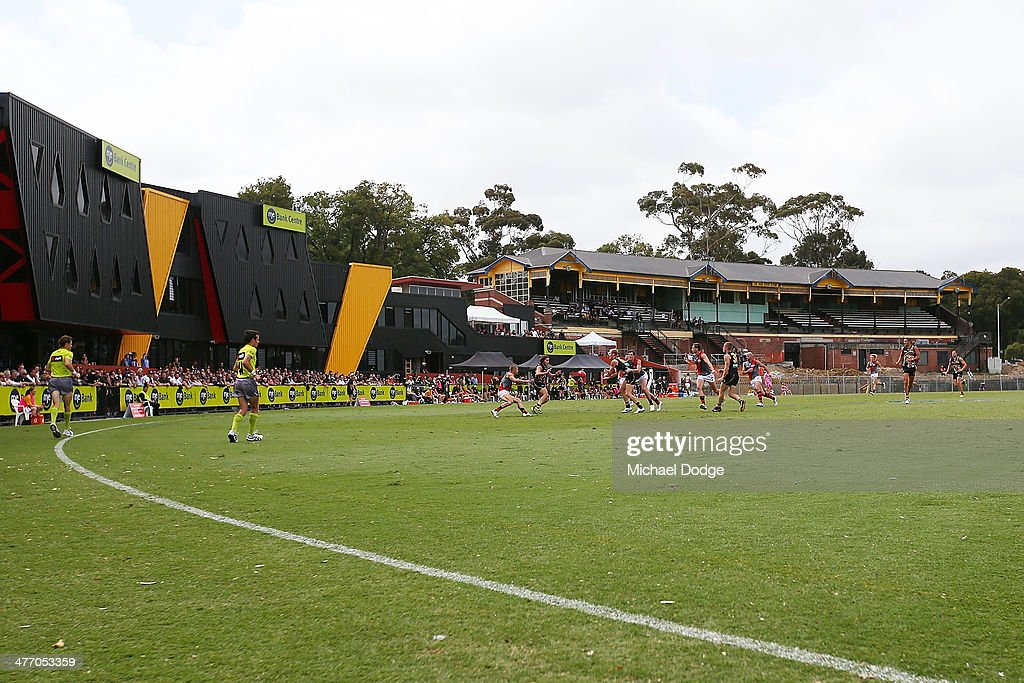 A general view of the Jack Dyer stand is seen during an AFL Practice Match between the Richmond Tigers and the Essendon Bombers at Punt Road Oval on March 7, 2014 in Melbourne, Australia.