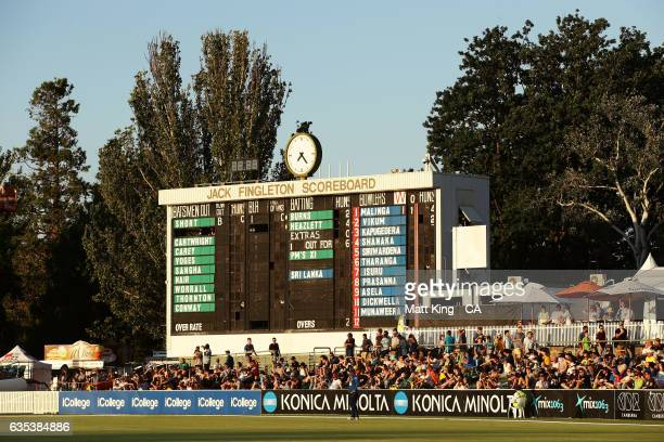 A general view of the Jack Fingleton scoreboard during the T20 warm up match between the Australian PM's XI and Sri Lanka at Manuka Oval on February...