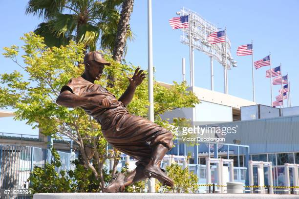 A general view of the Jackie Robinson statue is seen prior to the MLB game between the Colorado Rockies and the Los Angeles Dodgers at Dodger Stadium...