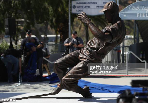 A general view of the Jackie Robinson statue is seen shortly after its unveiling at Dodger Stadium on April 15 2017 in Los Angeles California