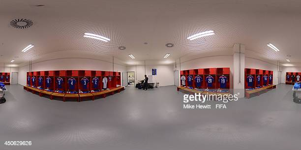 A general view of the Japan dressing room before the 2014 FIFA World Cup Brazil Group C match between Cote D'Ivoire v Japan at Arena Pernambuco on...