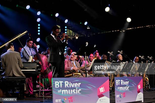 General view of the Jazz At Lincoln Center Orchestra performing on the America stage on Day 1 of the BT River Of Music Festival at Tower of London on...