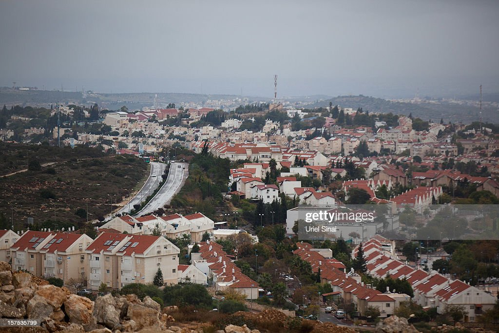 A general view of the Jewish settlement on December 4 2012 in the West Bank settlement of Ariel Israel plans to build 3000 new settler homes in East...