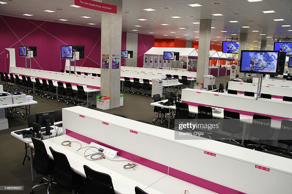 General view of the Journalist Work Room is on the ground floor of the Main Press Centre during the 2012 London Olympic Games at Olympic Park on July...