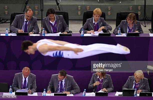 A general view of the judges as an athlete competes in the Trampoline Individual Qualification during day five of the Baku 2015 European Games at the...