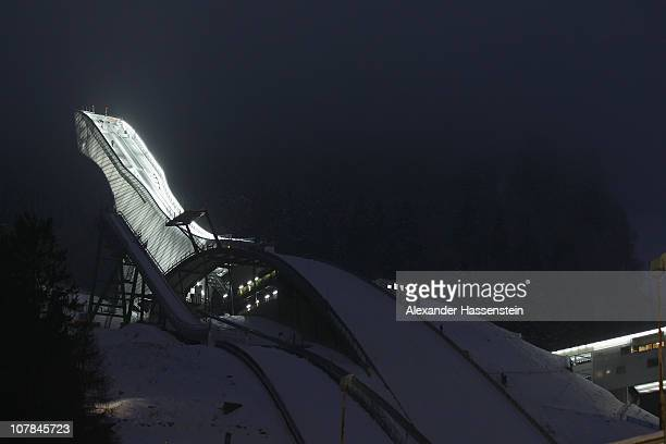 General view of the jumping hill after the FIS Ski Jumping World Cup event at the 59th Four Hills ski jumping tournament at Olympiaschanze on January...