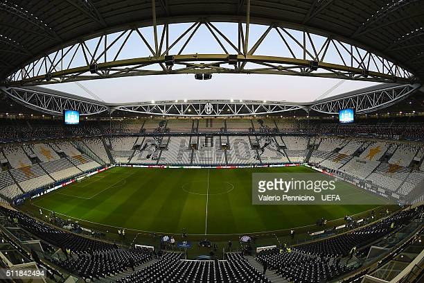 A general view of the Juventus Arena prior to the UEFA Champions League Round of 16 first leg match between Juventus and FC Bayern Muenchen at...