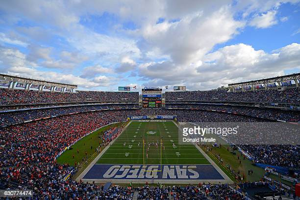 General View of the Kansas City Chiefs against the San Diego Chargers during the first half of a game at Qualcomm Stadium on January 1 2017 in San...
