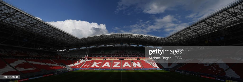 A general view of the Kazan Arena before the Portugal Training and Press Conference on June 17, 2017 in Kazan, Russia.