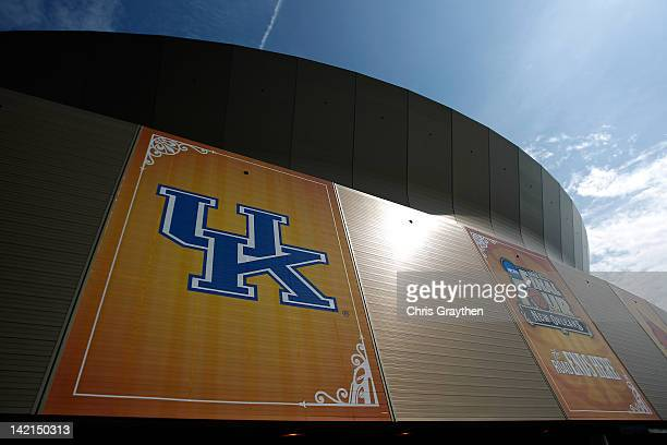 A general view of the Kentucky Wildcats logo on the exterior of the MercedesBenz Superdome during practice prior to the 2012 Final Four of the NCAA...
