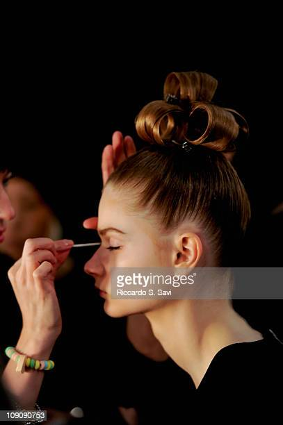 General view of the Kerastase Monique Lhuillier Fall 2011 show during MercedesBenz fashion week at The Stage at Lincoln Center on February 14 2011 in...