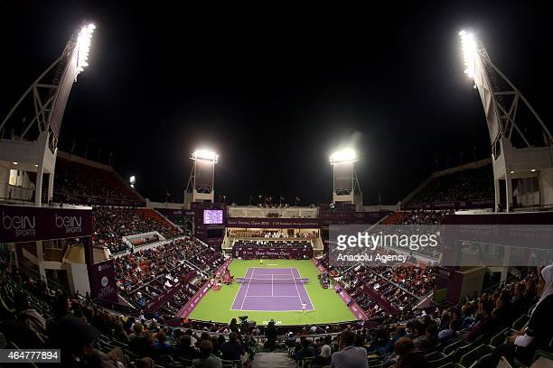 General view of the Khalifa International Tennis and Squash Complex in Doha following the final of the women's singles Qatar Open tennis tournament...