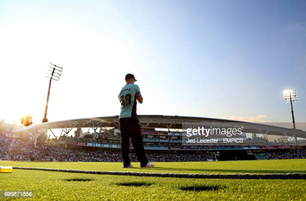 A general view of the Kia Oval as Sam Curran fields from the boundary