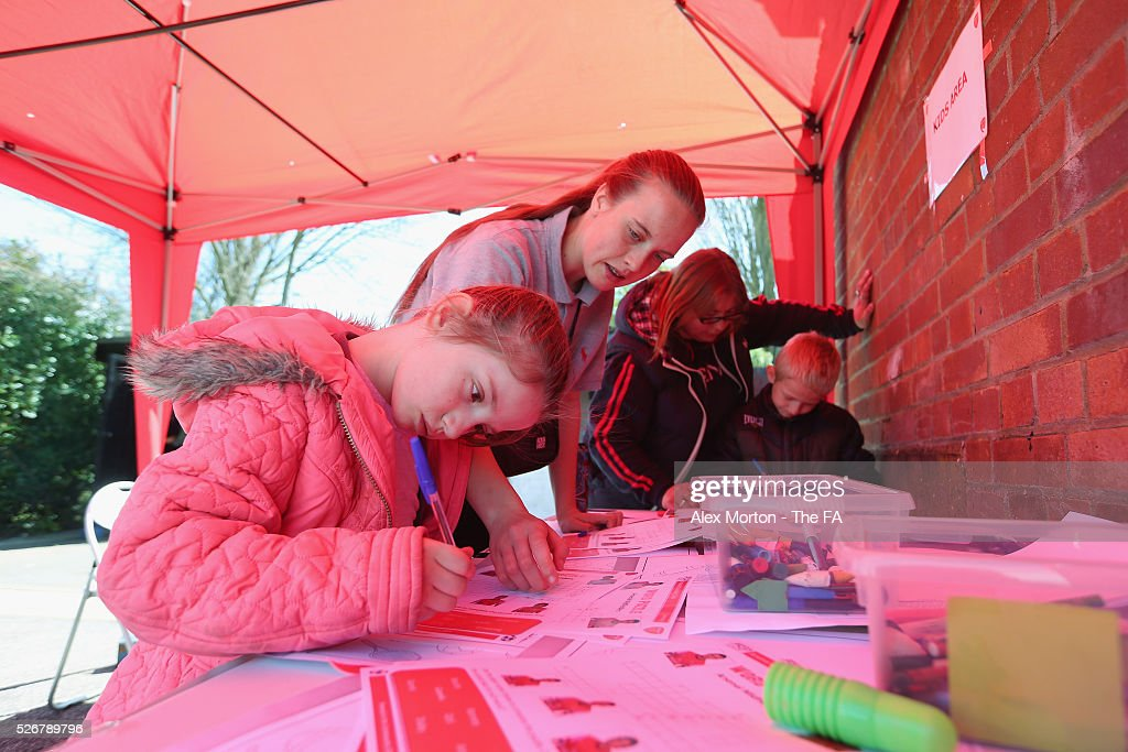 General view of the kids area during the WSL match between Arsenal Ladies and Birmingham City Ladies at Meadow Park on May 1, 2016 in Borehamwood, England.