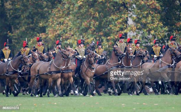 A general view of the King's Troop Royal Horse Artillery during their 70th anniversary parade at Hyde Park on October 19 2017 in London England The...