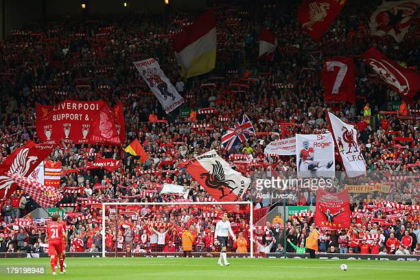 General View of the Kop during to the Barclays Premier League match between Liverpool and Manchester United at Anfield on September 01 2013 in...