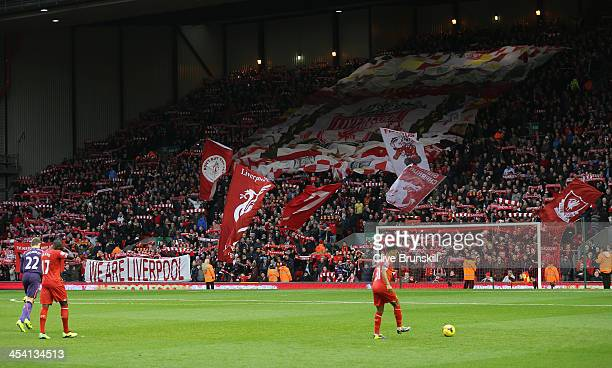 General View of the Kop prior to the Barclays Premier League match between Liverpool and West Ham United at Anfield on December 7 2013 in Liverpool...