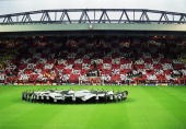 General view of the Kop taken before the UEFA Champions League quarterfinal first leg match between Liverpool and Bayer Leverkusen played at Anfield...
