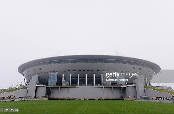 A general view of the Krestovsky Stadium in Saint Petersburg during the FIFA News Agencies Tour for the FIFA Confederations Cup 2017 on October 3...