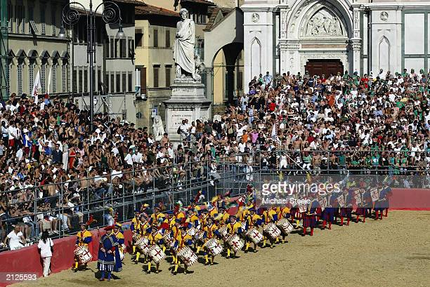 A general view of the La Piazza Santa Croce during the Calcio Storico a medieval football rules event held between four quarters of Florence since...