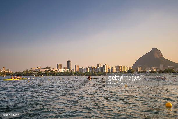 General view of the Lagoa Rodrigo de Freitas venue during the World Rowing Junior Championships on August 5 2015 in Rio de Janeiro Brazil The World...