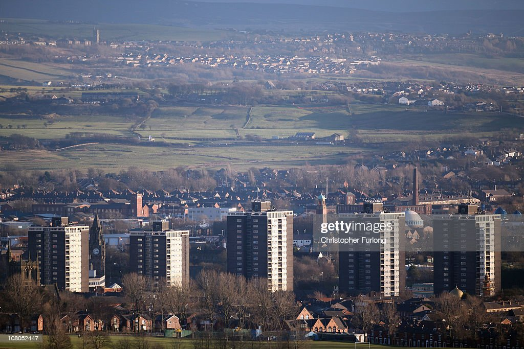 A general view of the Lancashire town of Rochdale after nine men were arrested for child sexual exploitation on January 11 2011 in Rochdale England...