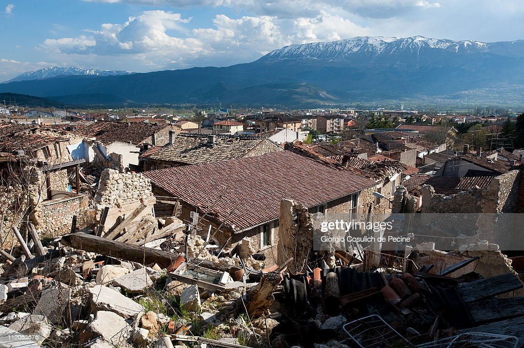 L'AQUILA ITALY APRIL 9 A general view of the landscape and the rubble of collapsed houses in the village of Paganica two years on from the April 6...