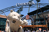 A general view of the large cement tiger at the main entrance of Comerica Park prior to the game between the Detroit Tigers and the Cleveland Indians...