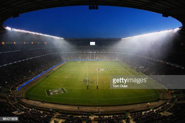 General view of the large crowd during the Guinness Premiership match between Harlequins and London Wasps at Twickenham Stadium on December 27 2009...
