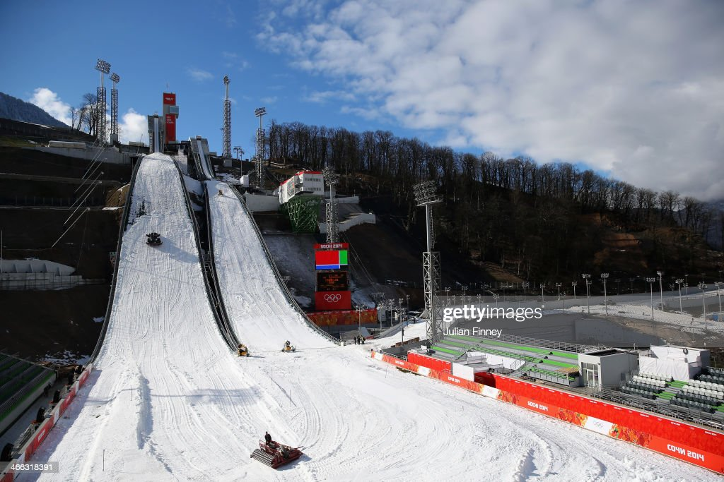 A general view of the large hill and normal hill side by side at the RusSki Gorki Ski Jumping venue ahead of the Sochi 2014 Winter Olympics on February 1, 2014 in Rosa Khutor, Sochi.