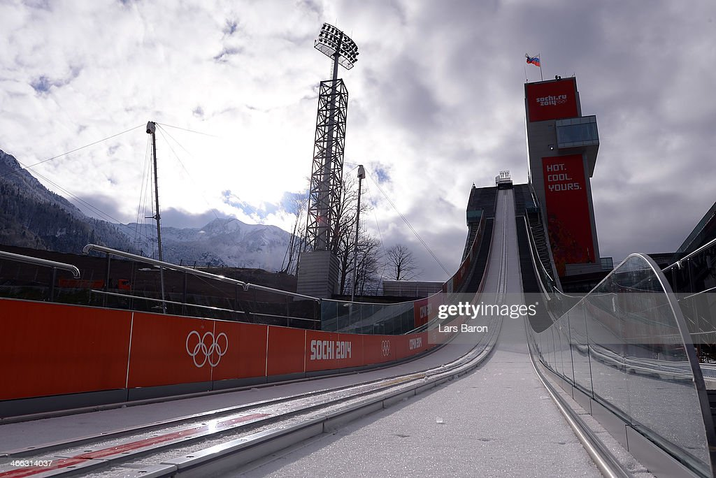 A general view of the large hill of the RusSki Gorki Ski Jumping venue ahead of the Sochi 2014 Winter Olympics on February 1, 2014 in Sochi, .