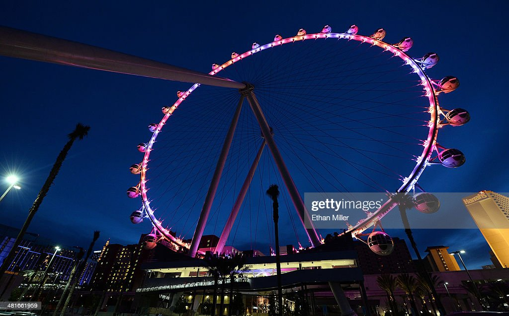 A general view of the Las Vegas High Roller at The LINQ on March 30, 2014 in Las Vegas, Nevada. The 550-foot-tall attraction is the highest observation wheel in the world and features 28 spherical cabins that can hold up to 40 people each.