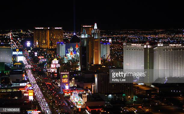 General view of the Las Vegas strip on Las Vegas Blvd with the Mandalay Bay Monte Carlo MGM Grand New YorkNew York Excalibur and Luxor Hotels