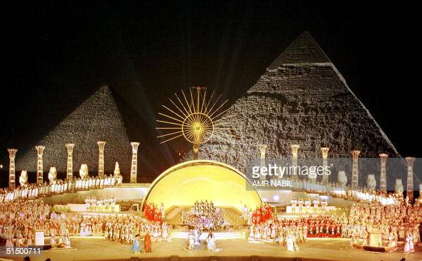 A general view of the last dress rehearsal of Giuseppe Verdi's opera Aida at the steps of Egypt's Giza Pyramids taken late 11 October 1999 The...