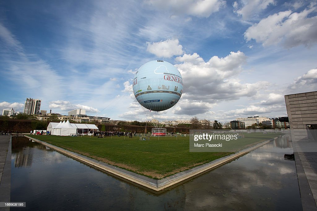 A general view of the launch of the new Paris Observatory Atmospheric Generali balloon, at Parc Andre Citroen on April 18, 2013 in Paris, France. The balloon will monitor air pollution which it will then display via a LED light device.