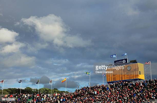 General View of the leaderboard on the 18th green during the final round of the 138th Open Championship on the Ailsa Course Turnberry Golf Club on...