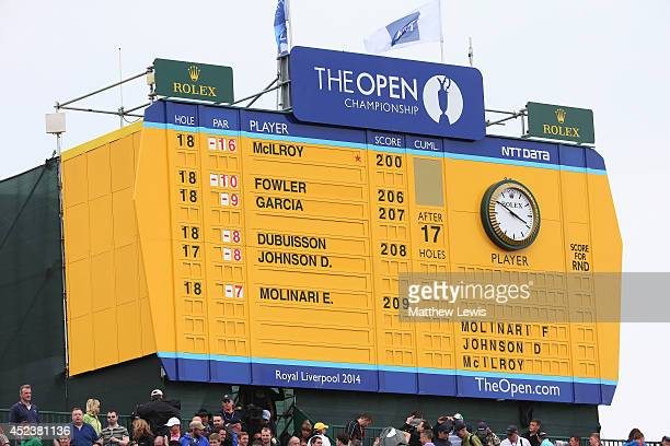 General View of the leaderboard on the 18th hole during the third round of The 143rd Open Championship at Royal Liverpool on July 19 2014 in Hoylake...