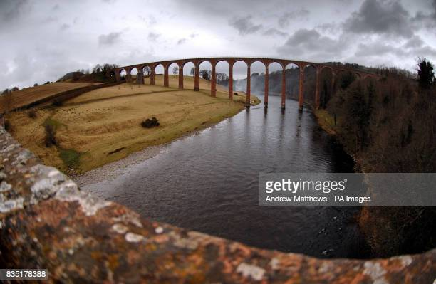 General view of the Leaderfoot Viaduct spanning the river Tweed near the Border town of Melrose
