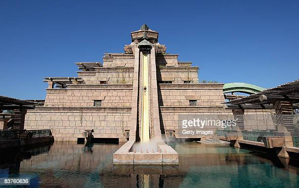 A general view of the Leap of Faith attraction at the Ziggurat which is the centrepiece of Aquaventure part of the Atlantis The Palm Resort at the...