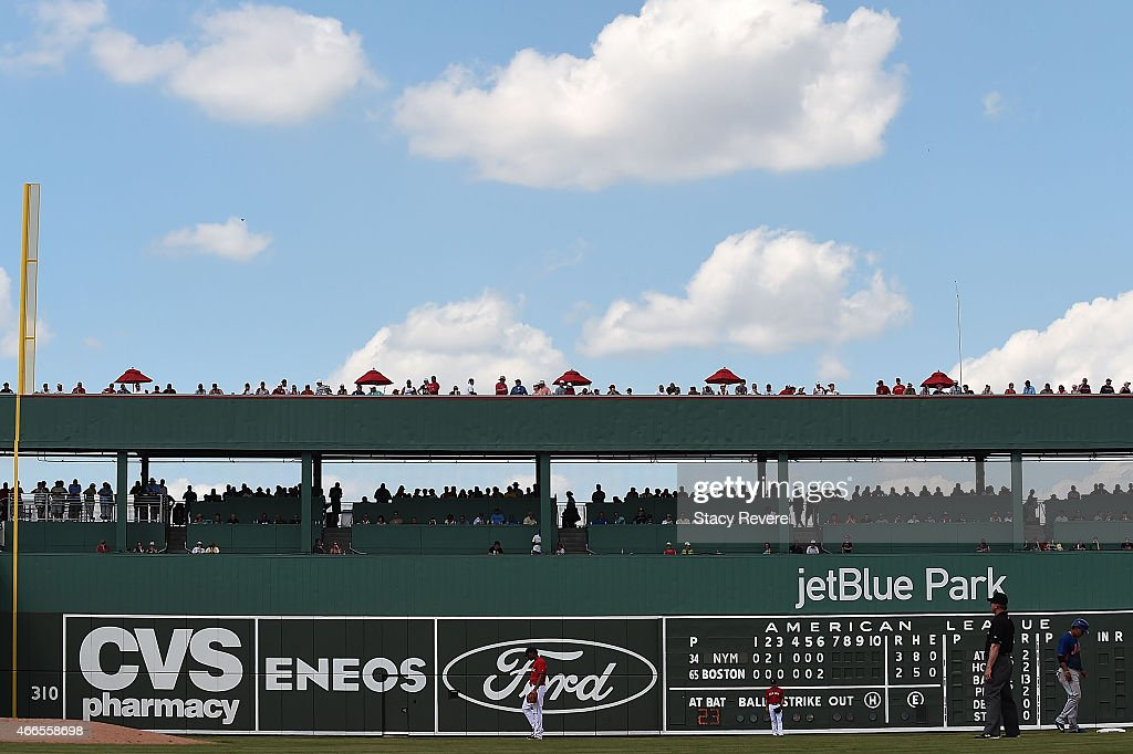 General view of the left field wall at JetBlue Park at Fenway South during a spring training game between the Boston Red Sox and the New York Mets on...