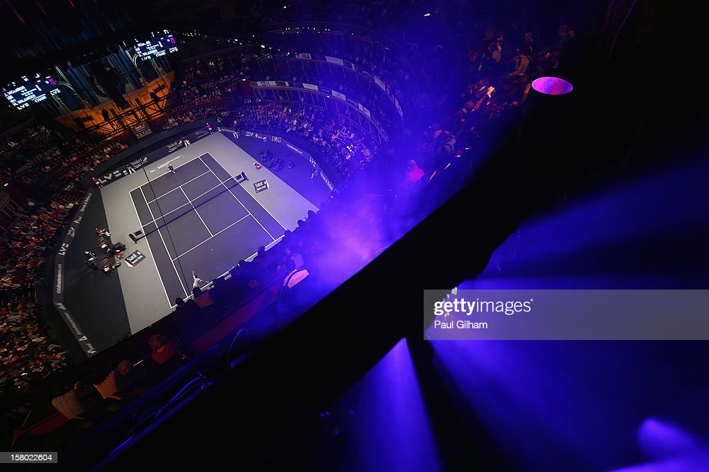 A general view of the Legends Final between <a gi-track='captionPersonalityLinkClicked' href=/galleries/search?phrase=John+McEnroe&family=editorial&specificpeople=159411 ng-click='$event.stopPropagation()'>John McEnroe</a> of United States and <a gi-track='captionPersonalityLinkClicked' href=/galleries/search?phrase=Mats+Wilander&family=editorial&specificpeople=677809 ng-click='$event.stopPropagation()'>Mats Wilander</a> of Sweden during the Statoil Masters Tennis at Royal Albert Hall on December 9, 2012 in London, England.