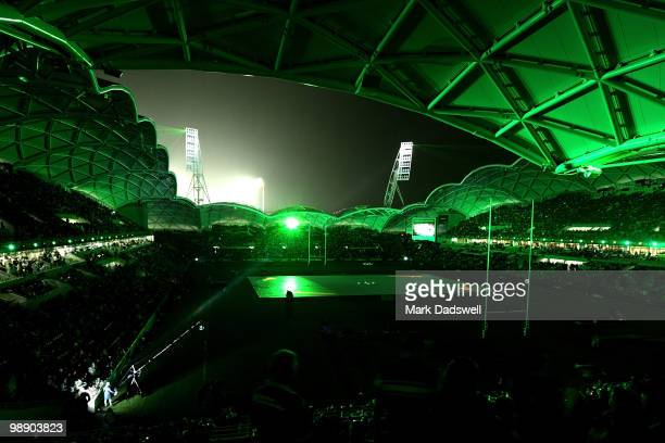 A general view of the light show to open the new AAMI Park Stadium druing the ARL Test match between the Australian Kangaroos and the New Zealand...