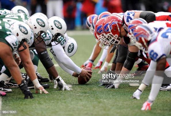 A general view of the line of scrimmage before the snap during the game against the New York Jets and the Buffalo Bills at Giants Stadium on October...