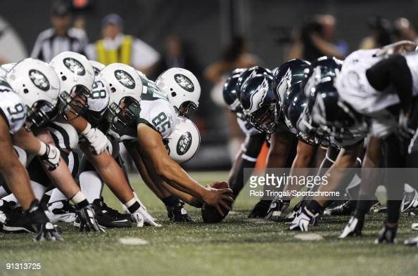 A general view of the line of scrimmage before the snap in the game between the Philadelphia Eagles and the New York Jets on September 3 2009 at...
