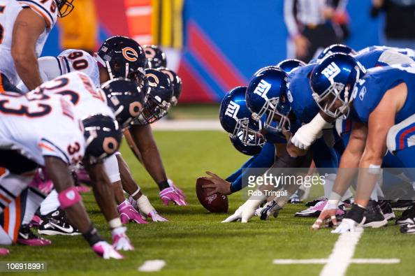 A general view of the line of scrimmage during a game between the New York Giants and the Chicago Bears on October 3 2010 at the New Meadowlands...