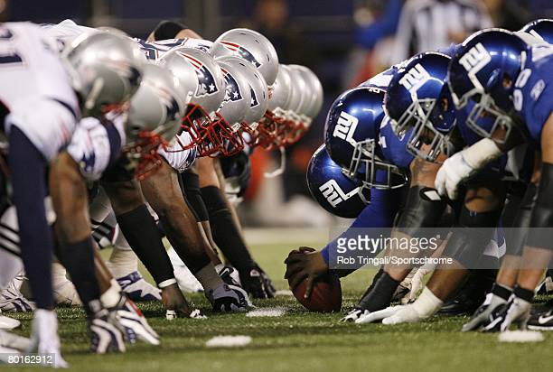 A general view of the line of scrimmage during a game between the New England Patriots and the New York Giants during their game on December 29 2007...