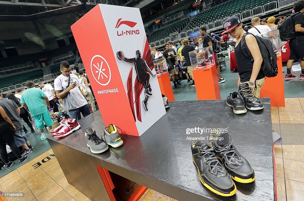 General view of the Li-Ning USA booth where Dwyane Wade's signature basketball sneakers were sold for the first time at SneakerCon at Bank United Center on June 29, 2013 in Miami, Florida.