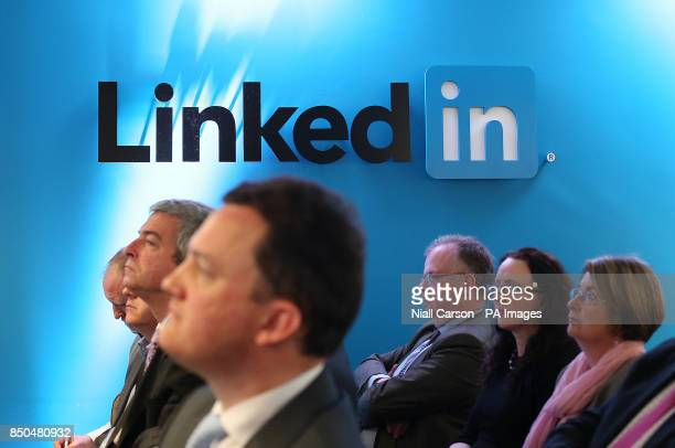 A general view of The LinkedIn logo at LinkedIn's offices in Gardner House Wilton Place Dublin